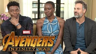 'Avengers: Infinity War': Chadwick Boseman, Mark Ruffalo and Danai Gurira (FULL INTERVIEW)