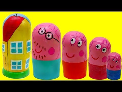 Peppa Pig Family Nesting Dolls Surprise Toys! Peppa House Preschool Toys for Toddlers Kids