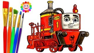 Train Drawing and Coloring for Children . Thomas and Friends HD .How to Draw for Kids GLYNN