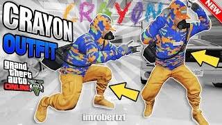GTA 5 Run and Gun Modded Outfit Tutorial OP Crayon! GTA Online Clothing 1.40 (GTA 5 Glitches)
