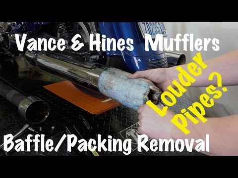 How to Remove Baffles/Packing From Vance & Hines Pipes/Mufflers-Louder Motorcycle Pipes?