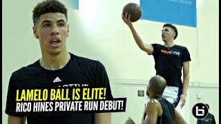 LaMelo Ball vs NBA Pros at Rico Hines Private Runs!! Melo PROVES His ELITE Passing!!