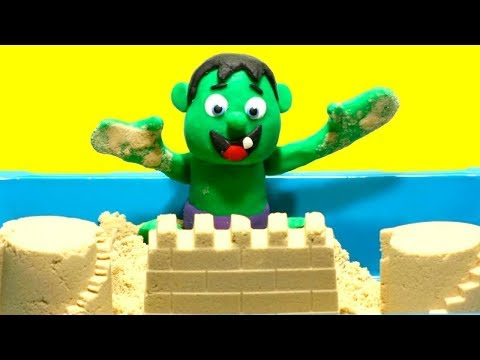Baby Hulk Stop Motion Superhero Muscular body the sand Play Doh Cartoon video