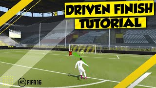 FIFA 17 DRIVEN FINISH TUTORIAL in FIFA 16 - HOW TO PERFORM IT / SECRET TRICKS
