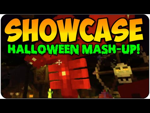 Minecraft Halloween Mash-Up Pack Review/ Showcase! Skin Pack & Roller Coaster For PS3 & Xbox 360
