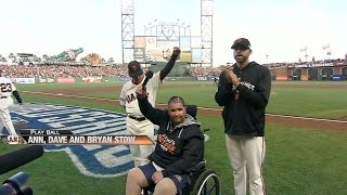 WS2014 Gm4: Bryan Stow yells 'Play Ball' before game