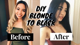 How to: Blonde to BLACK hair (DIY)