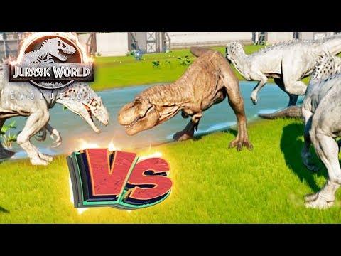 Усиленный ТИРЕКС vs 4 ИНДОМИНУС РЕКСОВ - Схватки Динозавров - Jurassic World EVOLUTION #4
