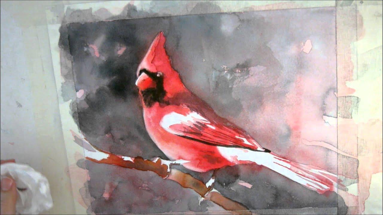 7th installment cardinal watercolor painting tutorial for Video tutorial on watercolor painting