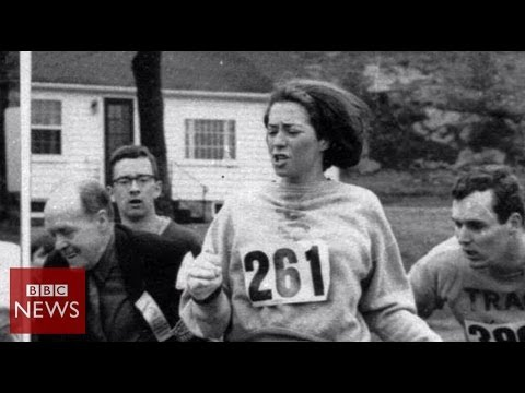 1st woman to run Boston Marathon - Witness - BBC News