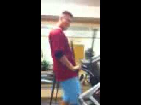 Amputee practicing sex moves on elliptical