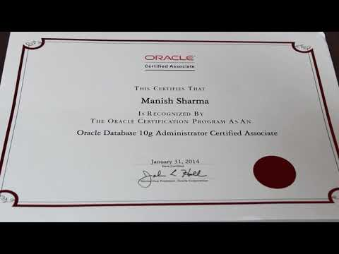 First look: ORACLE CERTIFIED ASSOCIATE (OCA) CERTIFICATE  - ORACLE DATABASE ADMINISTRATOR