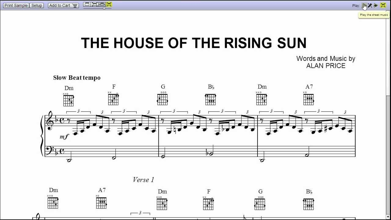 The house of the rising sun by the animals piano sheet for The house music
