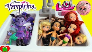 Vampirina Bubble Bath with Disney Princess Dress Up LOL Doll Surprises