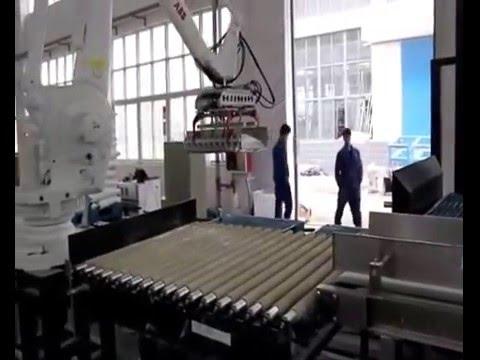 Автоматическая фасовка крахмала в готовый мешок 25 кг с паллетированием