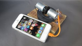 How to make Free energy Mobile Charger generator by DC motor - Science DIY Experiments at School