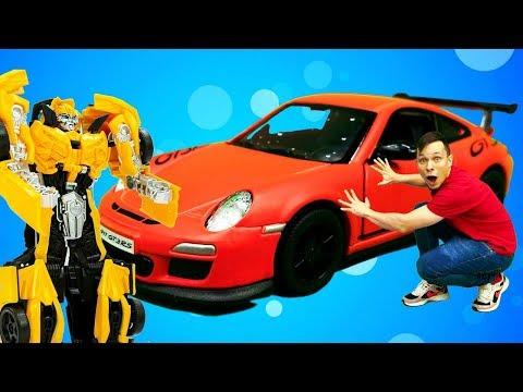 Бамблби и Фёдор ремонтируют Порше 911 GT3. Видео про машинки и Трансформеры.