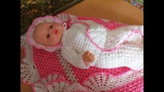 Вязание комплектов для новорожденных спицами 45