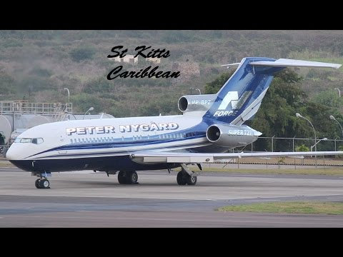 Peter Nygard, 727-17/ Super 727 night departure in St Kitts, Caribbean (HD)