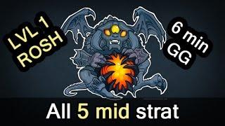 Level 1 Roshan, all 5 mid strat, 6 min GG — Manila Major Dota 2