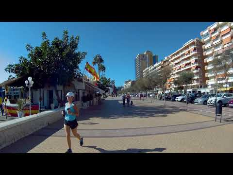 Walking in the street of the seashore in Fuengirola