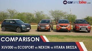 Mahindra XUV300 vs Ford EcoSport vs Tata Nexon vs Maruti Suzuki Vitara Brezza | NDTV carandbike