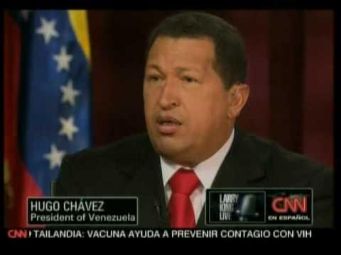 Larry King sudando en la entrevista con el Presidente Chávez 1de10
