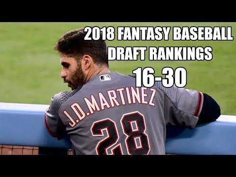 2018 Fantasy Baseball Draft Rankings 16-30