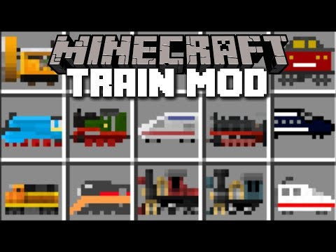 Minecraft TRAIN MOD / RIDE AND TRAVEL ON FAST SPEED TRAINS!! Minecraft