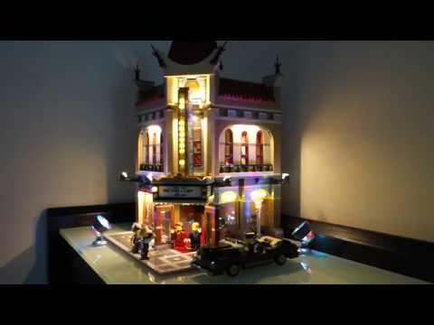 Lego 10232 Palace Cinema LED lights demonstration