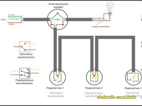 Схема проходных выключателей из 3 мест