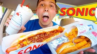 MY FIRST TIME TRYING SONIC!! FOOD ADVENTURES!! (Super Cheesy Chili Cheese Dog)