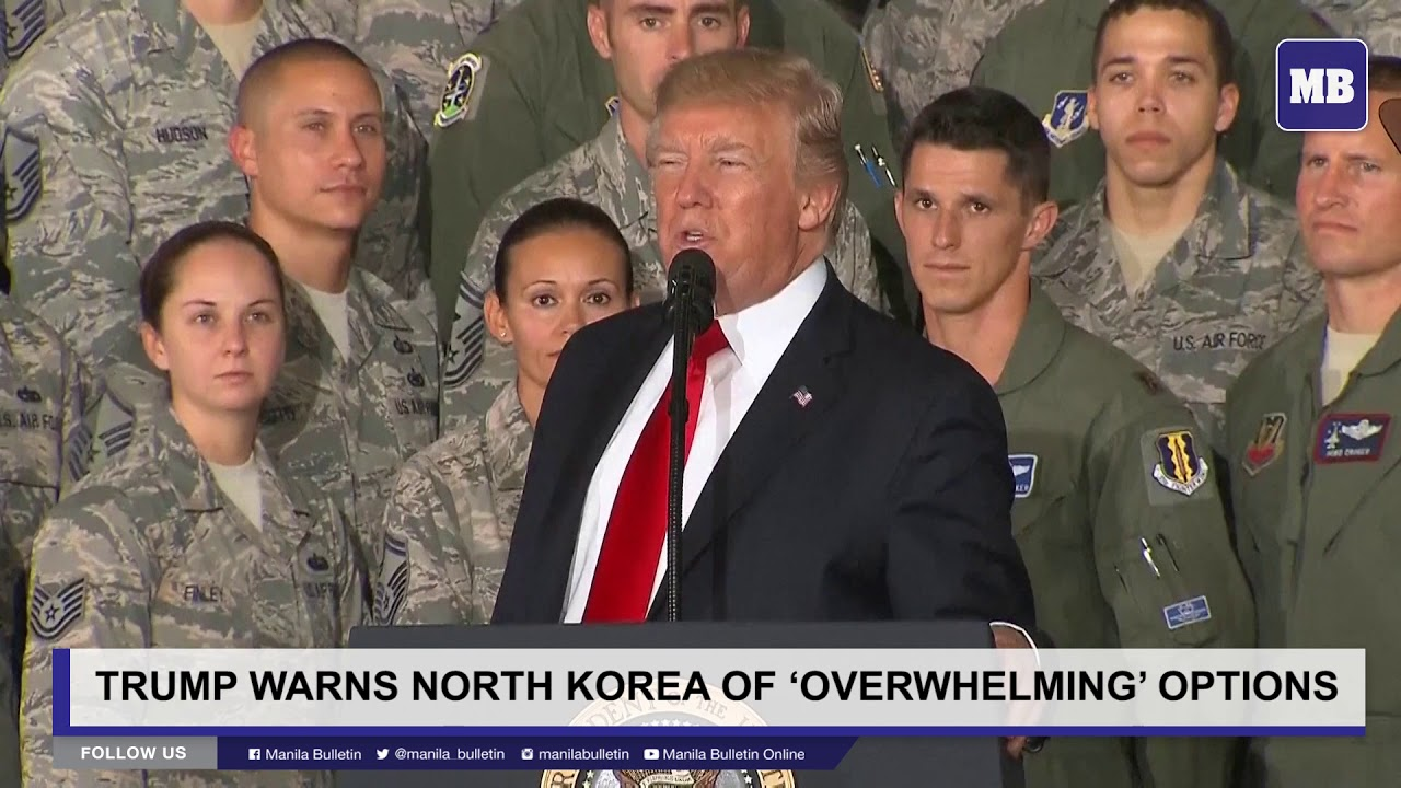 Trump warns North Korea of 'overwhelming' options