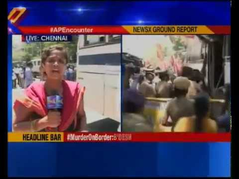 Tamil rights group storm protests against Andhra Pradesh encounter