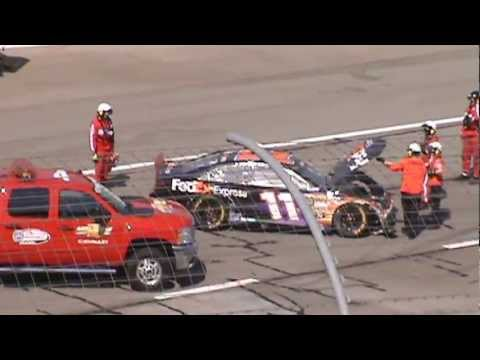 2013 NASCAR Auto Club 400 Crazy Finish From the Stands (Denny Hamlin Crash)