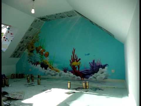 A rosoleil fresque deco graff chambre d 39 enfant th me fonds coralliens youtube - Chambre de enfant ...