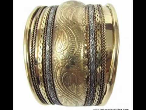 Fashionable Golden Cuff Bracelet Jewelry From India Indianbeautifulart