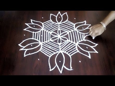 New 9 X 5 Lotus Flower Design || Easy Lotus Flower Kolam For Beginners || Fashion World
