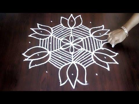 New 9 X 5 Lotus Flower Design || Easy Lotus Flower Kolam For Beginners || Fashion World