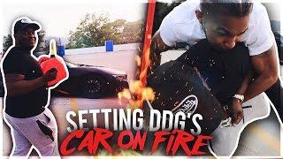 LIGHTING DDG'S NEW i8 ON FIRE PRANK !!! * crazy reaction *