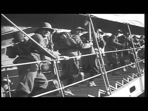 Italian Troops Aboard A Ship Wave As The Ship Leaves For Ethiopia From Naples, It...HD Stock Footage