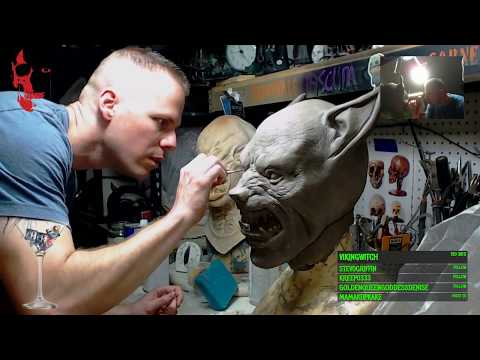 Chris continues working on his Werewolf mask sculpture
