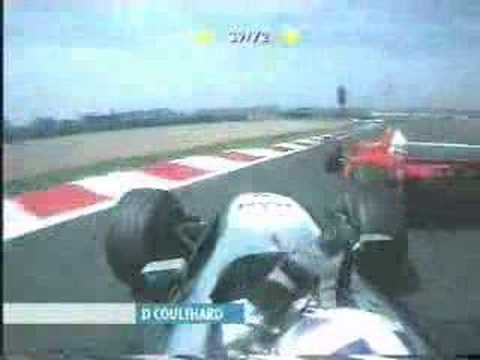Coulthard Schumacher middle finger. Video