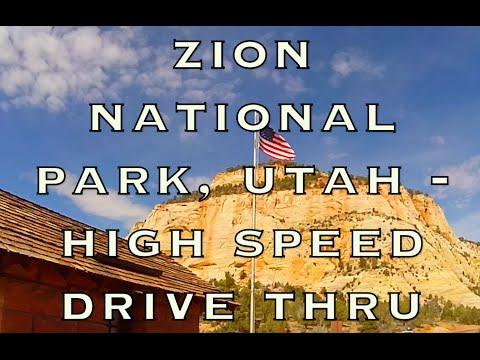 Zion National Park POV Fast Drive-Thru Utah