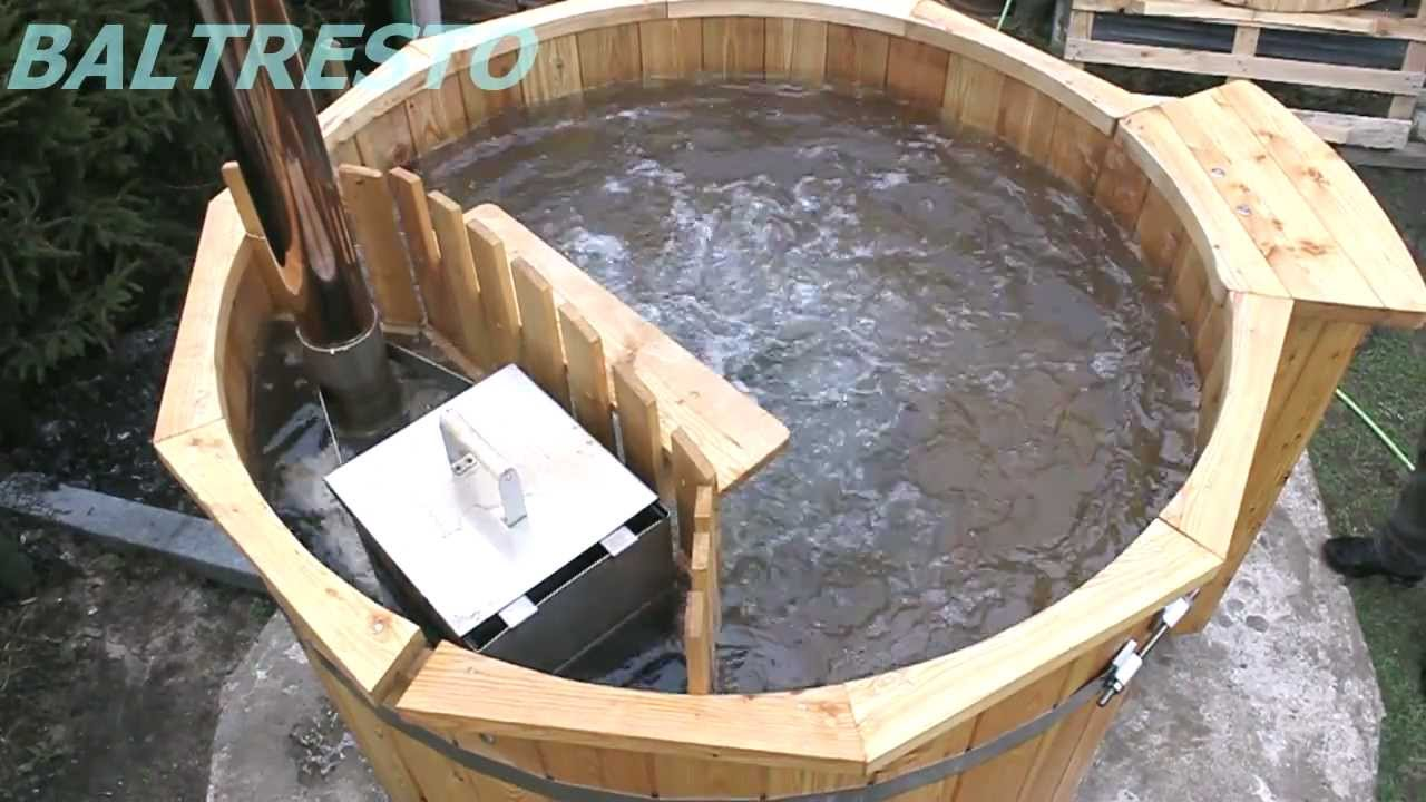 Wooden Hot Tub With Jacuzzi Youtube