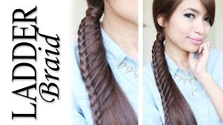 Ladder Braid Ponytail Hairstyle for Medium Long Hair Tutorial - Bebexo