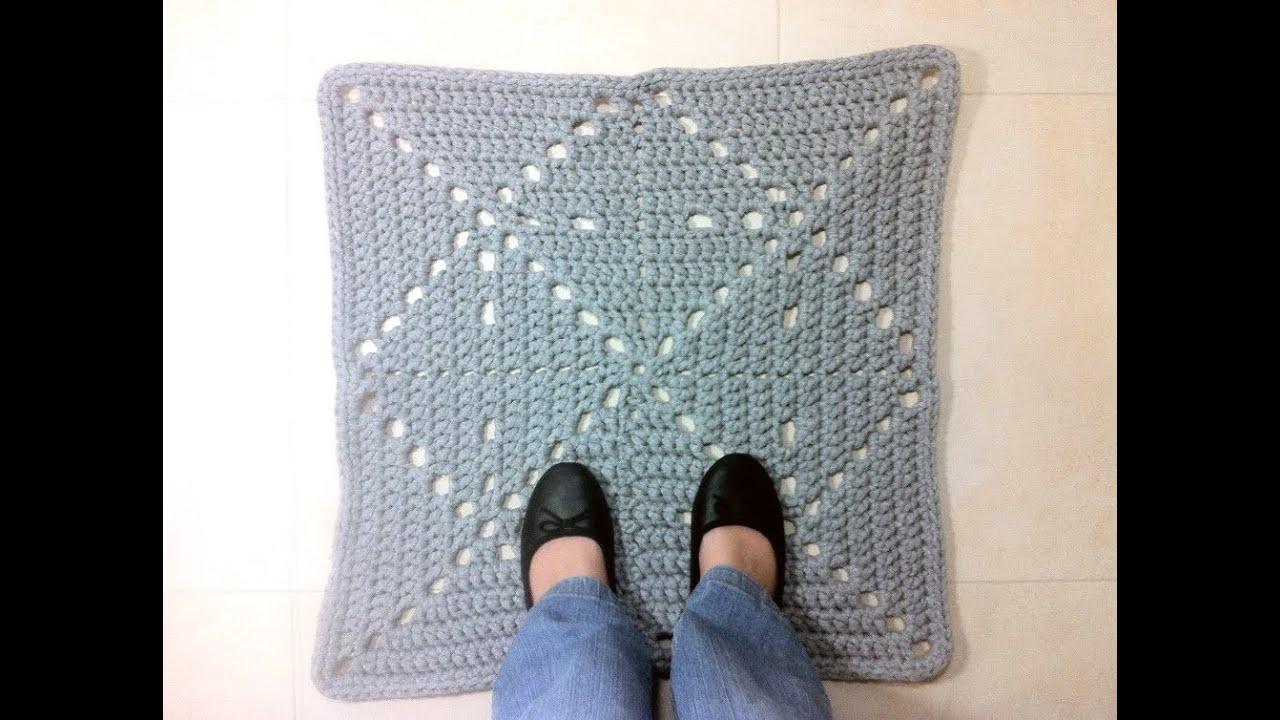 Tutorial c mo hacer alfombra cuadrada de trapillo a - Como hacer trapillo ...