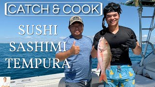 Catch and Cook Mutton Snapper | How To Make Sushi, Slice Sashimi, Fry Tempura