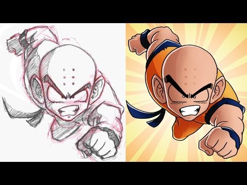 Cel shading in photoshop feat krillin from dbz youtube for Draw with jazza mural