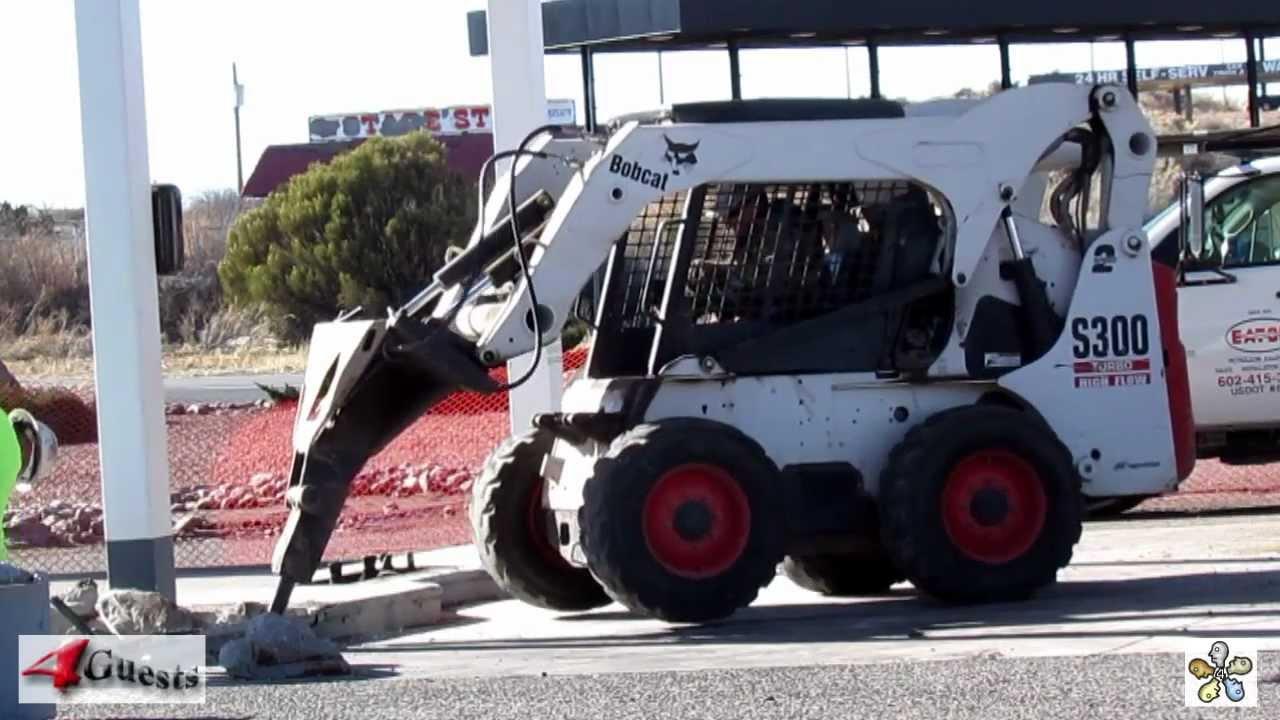 Bobcat Skid Steer S300 Turbo Jack Hammer Work Youtube